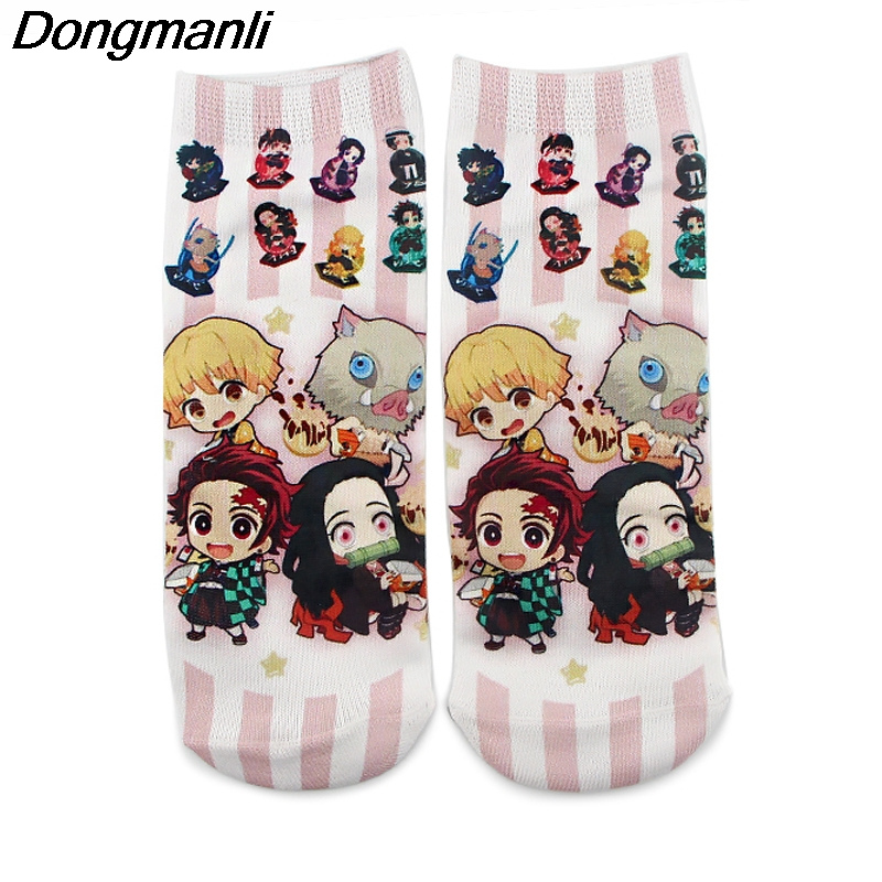 P4517 Cotton Anime Happy Sock Demon Slayer Kimetsu No Yaiba Blade Of Ghost Socks For Women Girl Gift Cosplay