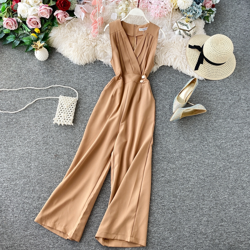 FTLZZ Sleeveless Jumpsuits V Neck Rompers Summer Office Lady Full Length Jumpsuit Casual Women Elegant Slim Playsuit Romper