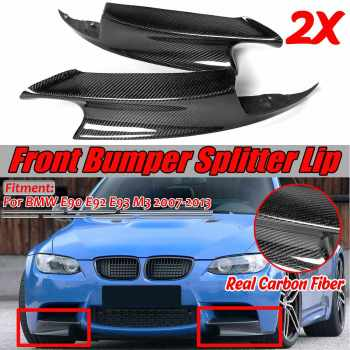 2PCS E90 E92 Real Carbon Fiber Car Front Bumper Splitter Lip Diffuser Guard Protection For BMW E90 E92 E93 M3 2007-2013 image