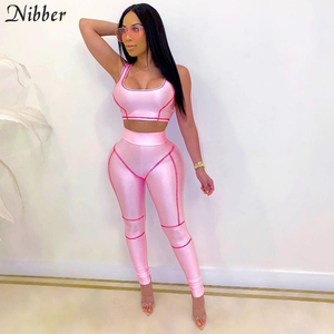 Nibber high quality Glossy casual tracksuit two-piece set summer elastic slim camisole &high waist leggings fitness woman outfit