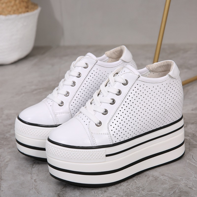 Spring Thick-soled Sports Shoes Increased 12cm Leather Korean Version Of The Hollow Breathable Walking Shoes For Women ZP-171