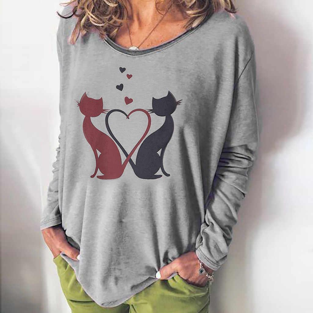 2019 dorywczo koszula damska z długim rękawem druku O-Neck dół bluzka kobiety topy Vadim kot kołnierz poliester Blusas Mujer De Moda L726