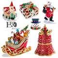 H & D 6 стилей, ручная роспись, коробки для безделушек, статуэтка, украшенная камнями, Санта Клаус, медведь, сани, Рождественский узор, шарнирна...