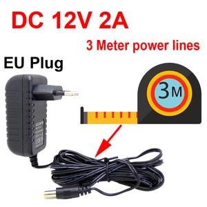 Image 2 - 4 Uds. De Cable de 3 metros, enchufe europeo, cargador de CA/CC/adaptador de corriente 3 M, Cable de alimentación para cámara CCTV AC 100 240V DC 12V 2A (2,1mm * 5,5mm)