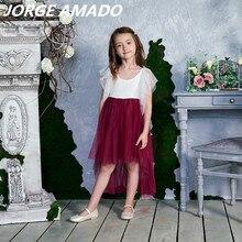 สูงต่ำลูกไม้ดอกไม้ชุดสาว 2020 สไตล์ใหม่ผ้าพันแผลFlare Sleeveชุดเจ้าหญิงสำหรับงานแต่งงานPARTYดำเนินการเสื้อผ้าเด็กe17127