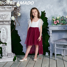 High Low Lace Flower Girl Dress 2020 New Style Gauze Flare Sleeve Princess Dresses for Wedding Party Perform Kids Clothes E17127
