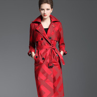 Women's Quality Trench Overcoat Spring Autumn Long Plaid Pattern Belt Button Waist Slim Coat Female Polyester Red Lapel Trench