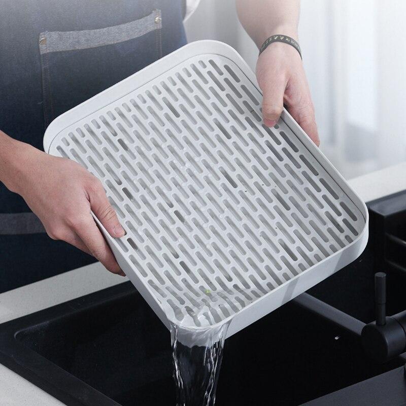 Двухслойная Стоковая стойка, пластиковая сушилка на раковину для посуды, поднос для хранения фруктов, Сервировочные лотки, декор для посуды, кухонный Органайзер-3