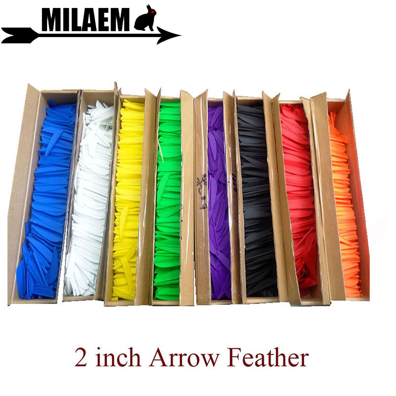 200pcs 2 Inch Archery Rubber Feather Arrow Fletching Vanes Arrow Feather Bow Arrow Shooting Accessories