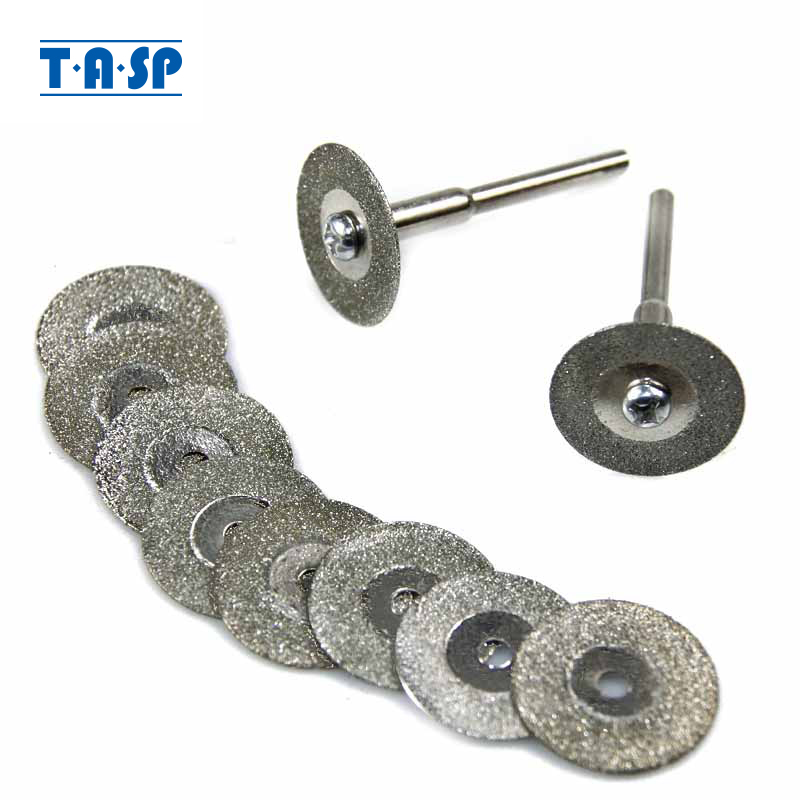 TASP 10pcs 20mm Cuchillas de disco de corte recubiertas de diamante Juego de ruedas Accesorios para herramientas rotativas con vástago de 3.2 mm MMD001A3