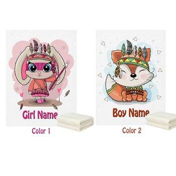 LVYZIHO стильная футболка с изображением персонажей видеоигр Племенной «Лиса», «кролик с перьями ручной работы с именем для маленьких девочек/мальчиков Флисовое одеяло-30x40 дюймов