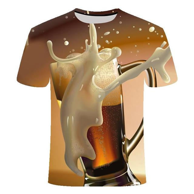Funny men's short sleeve beer Clock 3D T-shirt, round neck large digital printed 3