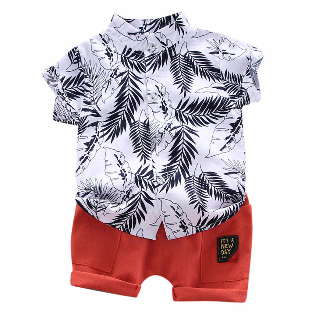 Fashion Toddler Kids Baby Boy Clothes Short Sleeve Cartoon Pattern Shirt Tops+Shorts Set 2Pc Costume 2020 New Summer Cloathing