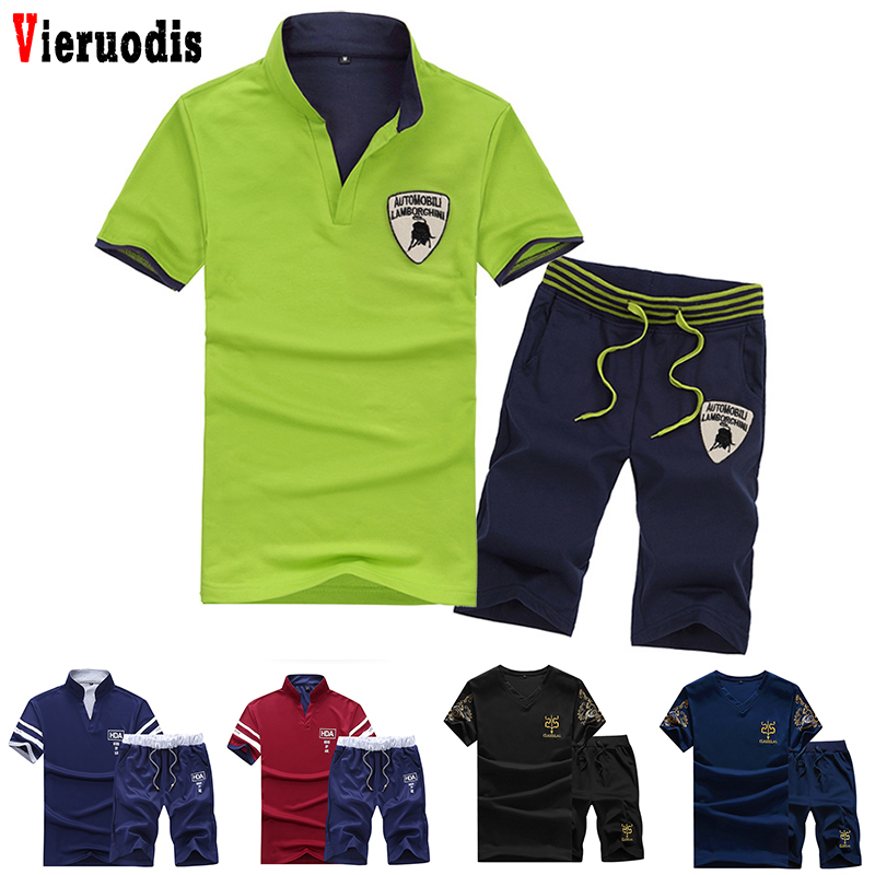 Male Fashion Tracksuit Clothing Short Sleeve + Shorts 2 Pieces Printed Set Summer Brand Sets Men Fitness Suit Sporting Suits