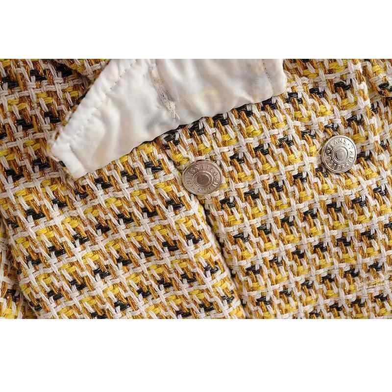 2019 винтажное твидовое платье с карманами женское повседневное клетчатое платье с круглым вырезом и коротким рукавом Корейская сексуальная одежда мини-платье уличная одежда vestidos