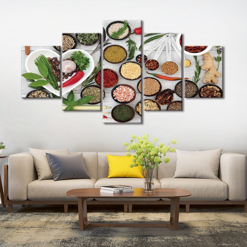 Toile Mur Art Photos 5 Pièce Cuisine Condiment Peinture