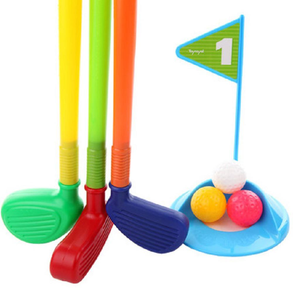 New Plastic Mini Golf Club Set Multicolor Plastic Golf Toys For Kid Childrens Toddler Indoor Outdoor Game Plastic Mini Golf Club