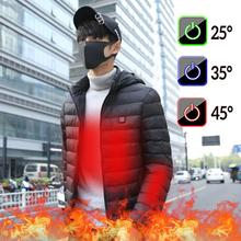Men Heated Jackets Down Cotton Camping Coat USB Electric Heating Hooded Jackets Warm Winter Thermal Coat