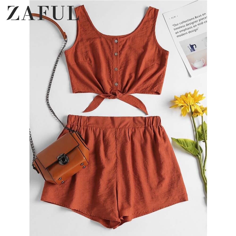 ZAFUL Two Piece Women Set Beach Summer Button Up Sleeveless Crop Top And Elastic Waist Shorts Set Casual Women's Suits 2018