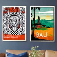 Viajes a Indonesia de Bali vacaciones de verano de pinturas de pared Vintage Kraft carteles recubierto pegatinas de pared casa decoración foto regalo