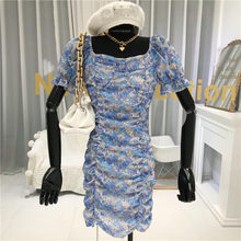Sexy Women Dress Ruffle 2020 Tunic Summer Shivering Dress V Neck Bubble Sleeve High Waist Party Drawstring Folded Women Print(China)