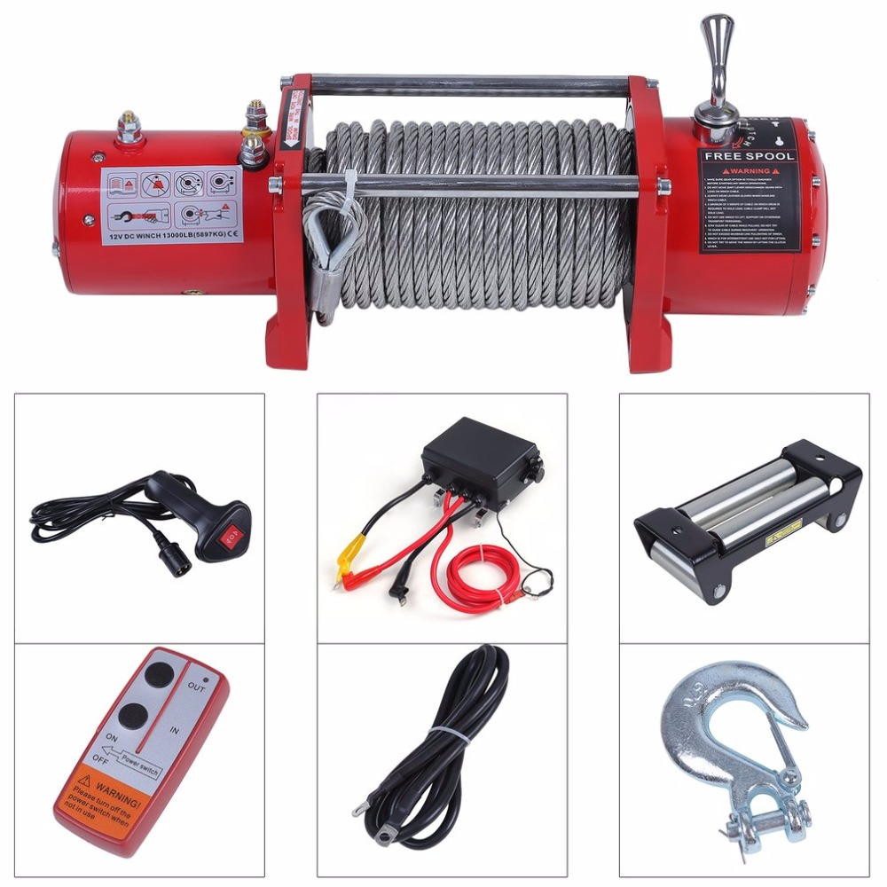 New 12V Electrical Winch Wire Rope Capacity Up To 13000 Pound With Remote Control Cars Off-Road Engines Lift Winch