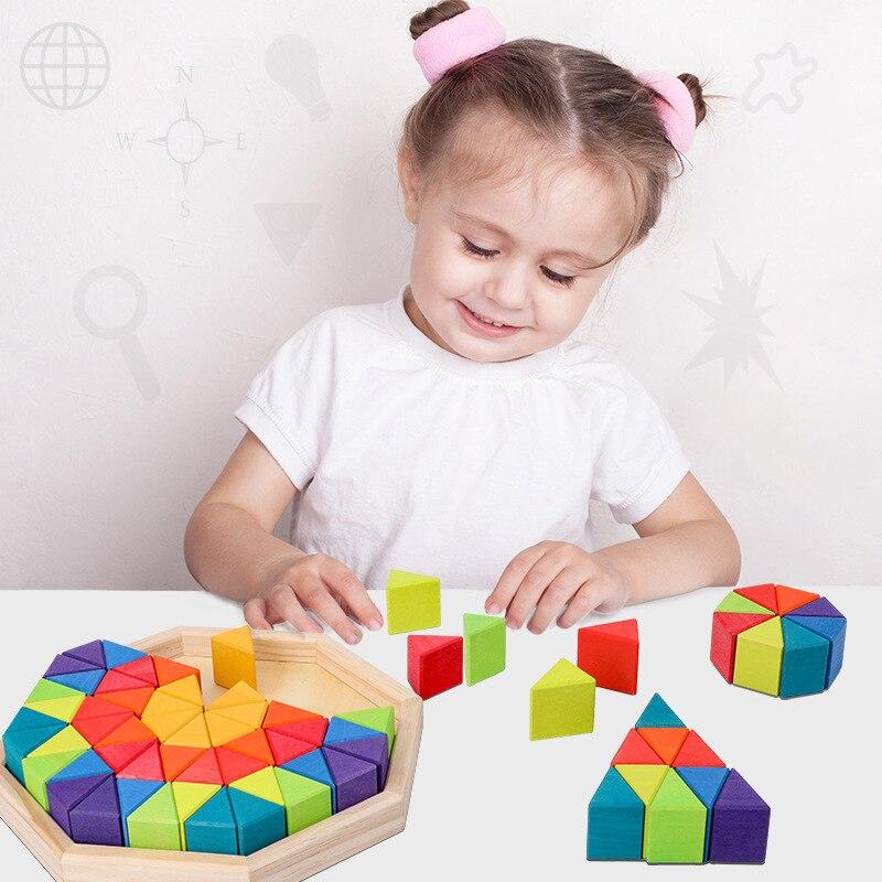 Большой треугольник из березы, детские строительные игрушки в коробке, строительные блоки, 12 цветов, складные детские Игрушки для раннего о...