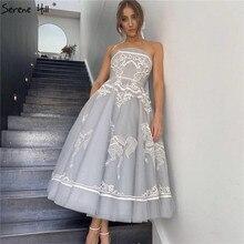 Szare bez ramiączek seksowne ręcznie robione kwiaty suknie wieczorowe 2020 Off Shoulder line formalna sukienka Serene Hill HM66970