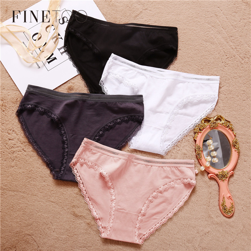 Women's Panties 3Pcs/lot Heart Lace Underwear Women Cotton Underpants M-XL Solid Color Low-Rise Panty Lady Comfortable Lingerie