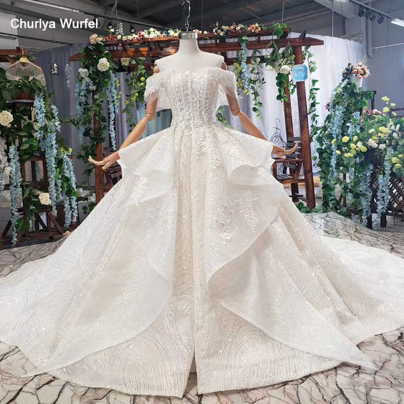 HTL575 like white wedding dresses off shoulder special lace up back bridal gowns 2019 multi-layer vestido de noiva plus size