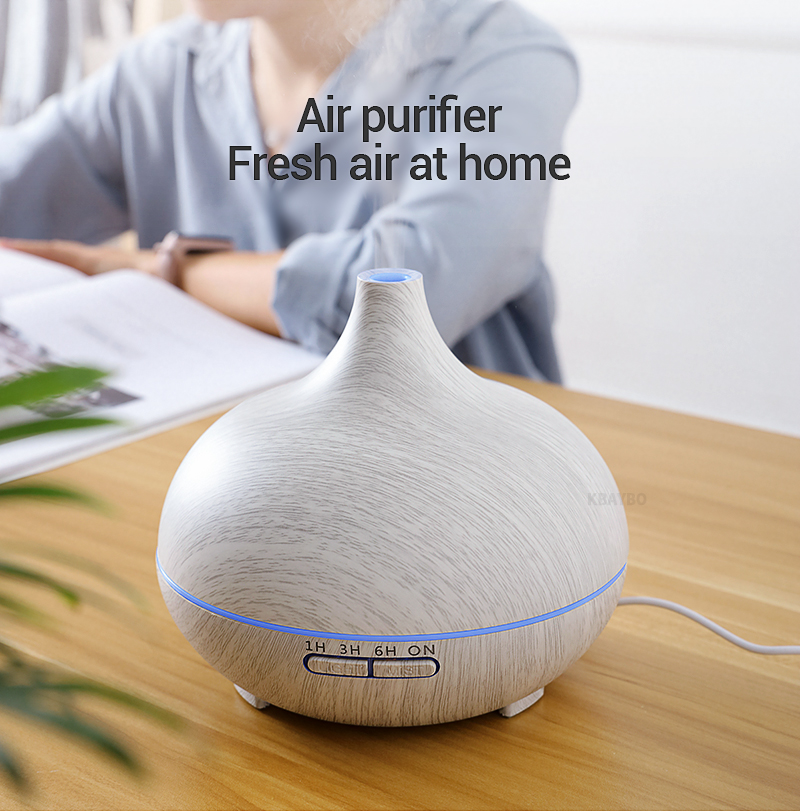 Kbaybo 550ml ultrasonic electric air humidifier aroma oil diffuser white wood grain remote control 7 colors led lights for home