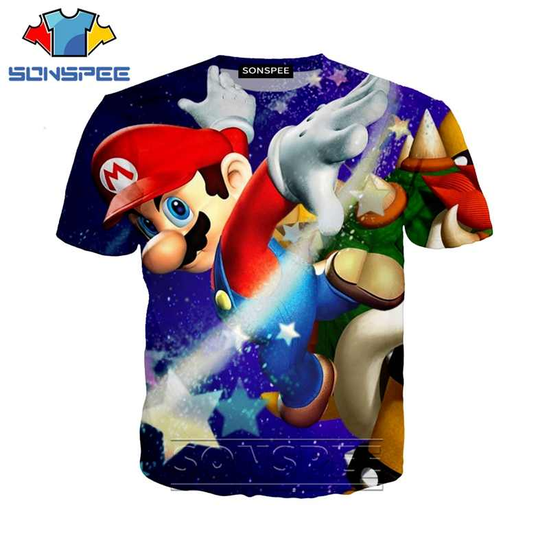 Anime 3d imprimir hip hop camiseta hombres mujeres juego logo moda camiseta Mario Bros Harajuku top camisetas divertidas homme camiseta A261