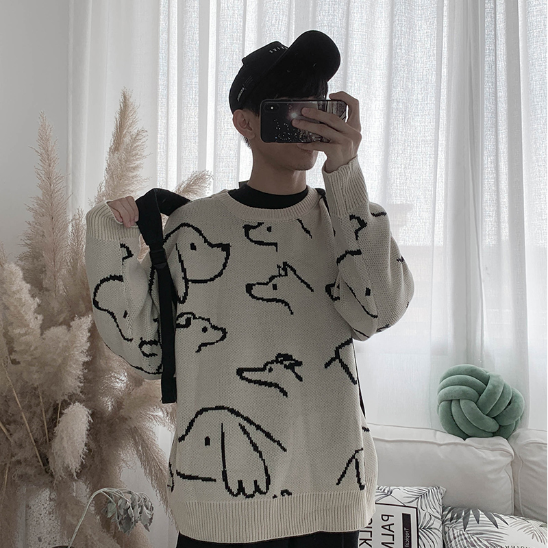 2019 New Fashion Dog Print Long Sleeves Wild Wild Loose Knit Heads Autumn And Winter Men's Sweater