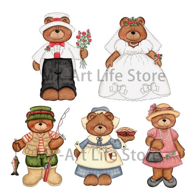 Panna młoda i pan młody niedźwiedź dziewczyna z chłopiec wykrojniki zwierząt laleczka bobas Craft wzornik dla DIY scrapbookingu kart dekoracyjne