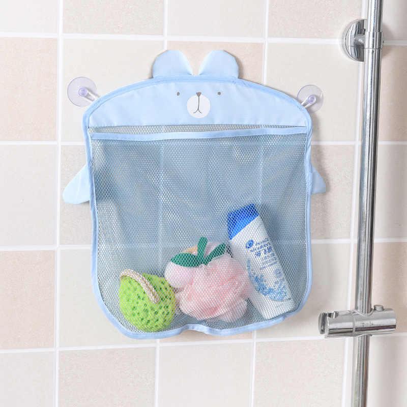 Parede dos desenhos animados pendurado cozinha banheiro saco de armazenamento ventosa malha net cesta de armazenamento brinquedos banho do bebê shampoo organizador recipiente