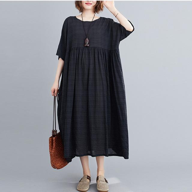 Plus Size Plaid Casual Cotton Summer Dress Women Oversized Vintage 4XL 5XL 6XL Ladies Dresses Robe Femme Beach Woman Dress 2021 8