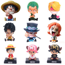 Q Version Japanese Anime One Piece Roronoa Zoro Luffy Sanji BROOK Nami Franky Chopper PVC Action Figure toys car Decoration