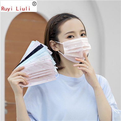 Lace Gauze Disposable Non-woven Face Mask Suntan Dustproof And Haze Breathable Thin Print Face Mask In Summer