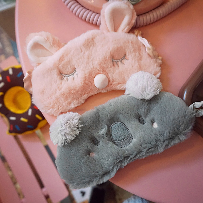 Kawaii Plush Koala Rabbit Eye Mask Girls Sleeping Mask Plush Toys For Kids Girls Stuffed Eye Shade Cover Home Travel Eyeshade
