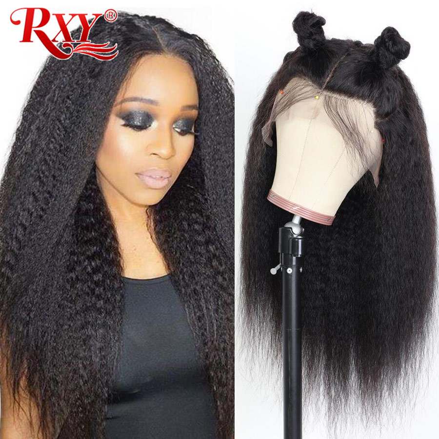 RXY Kinky Straight Lace Front Human Hair Wig 360 Lace Frontal Wig 13x6 Lace Front Wig Brazilian Remy Human  Wigs For Women Black