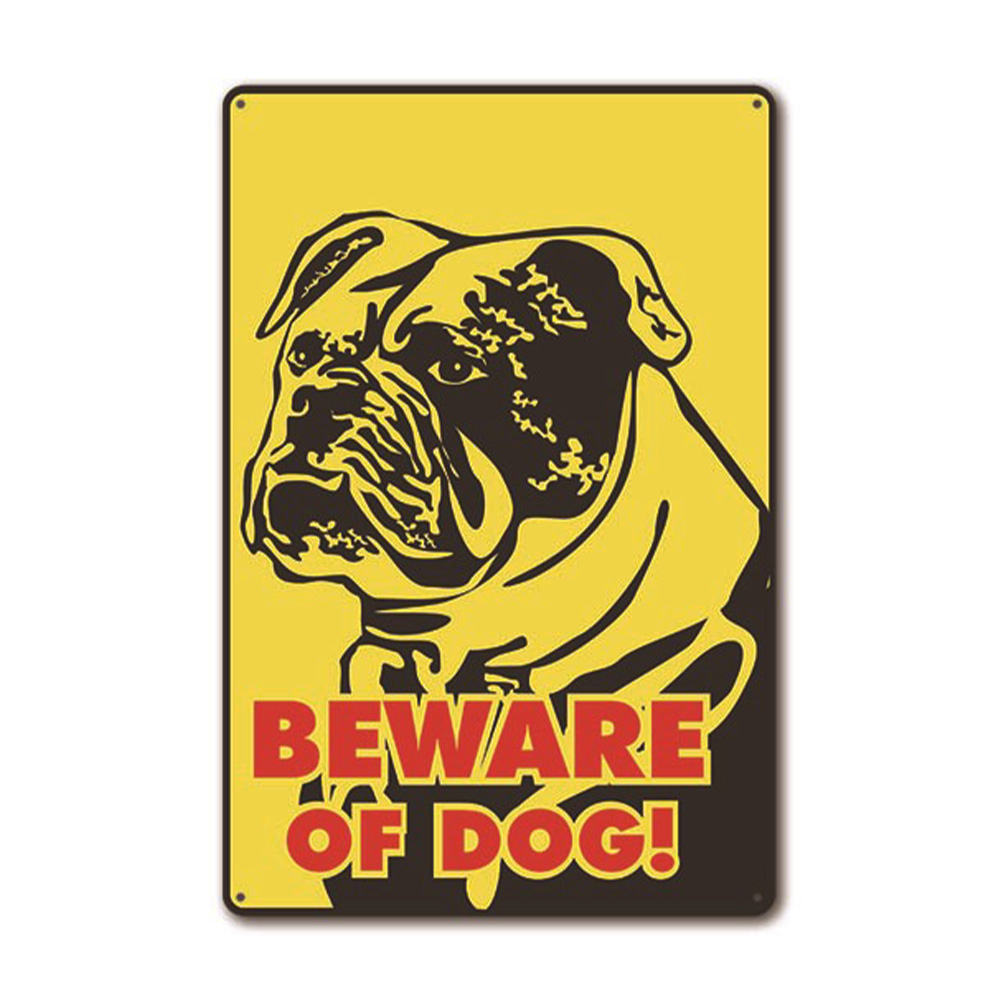 Printed Attention Dog Warning Sign Metal Beware Bar Safety Sticker Pub Home Craft Caution Vintage Wall Decor Decorative Plate