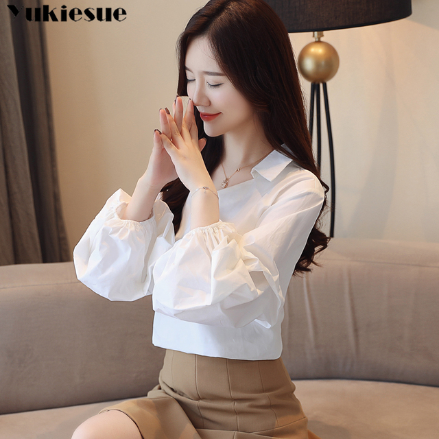 Elegant Turtleneck Blouse lantern Long Sleeve White stirped  Shirt Office Ladies Top Casual V neck Womens Blouses Plus size 2