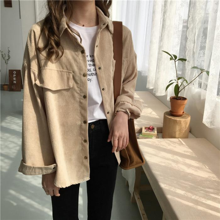 Yeniery New shirt 19 autumn new ins loose and versatile corduroy shirt women's solid color casual long sleeve shirt coat UT098(China)