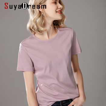 SuyaDream Women Solid T shirts Cotton and Silk mix Plain O neck Short Sleeved Shirts 2021 Summer Candy Colors Basic Top 1