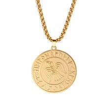 Skyrim runa Raven Wicca amuleto de colgante talismán Acero inoxidable cadena larga dorada suerte pájaro encanto collares joyería hombres