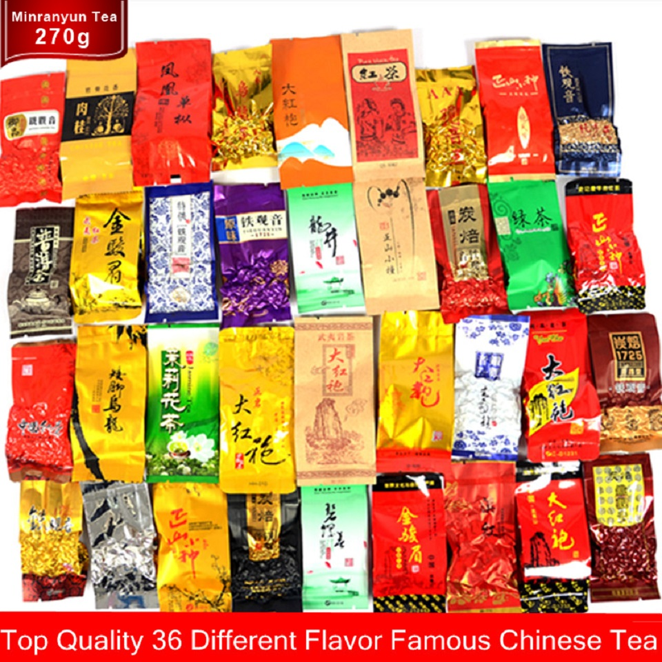 36 Different Tea Including Milk Oolong Tea Pu-erh Black Green Herbal Flower Tea Gift 250g Chinese Premium Quality Tea