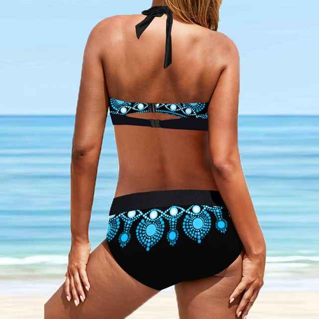 Plus Size 8XL Halter Swimwear Women Padded Up Bikini 2021 New Cutout Back Floral Swimsuit Backless Two Piece Bathing Suit Women 2