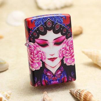 Genuine Zippo oil lighter copper windproof Chinese opera facial make-up cigarette Kerosene lighter With anti-counterfeiting code