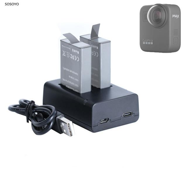 Для GoPro MAX Быстрая зарядка USB Батарея двойное зарядное устройство держатель для GoPro MAX аксессуары для экшн камеры