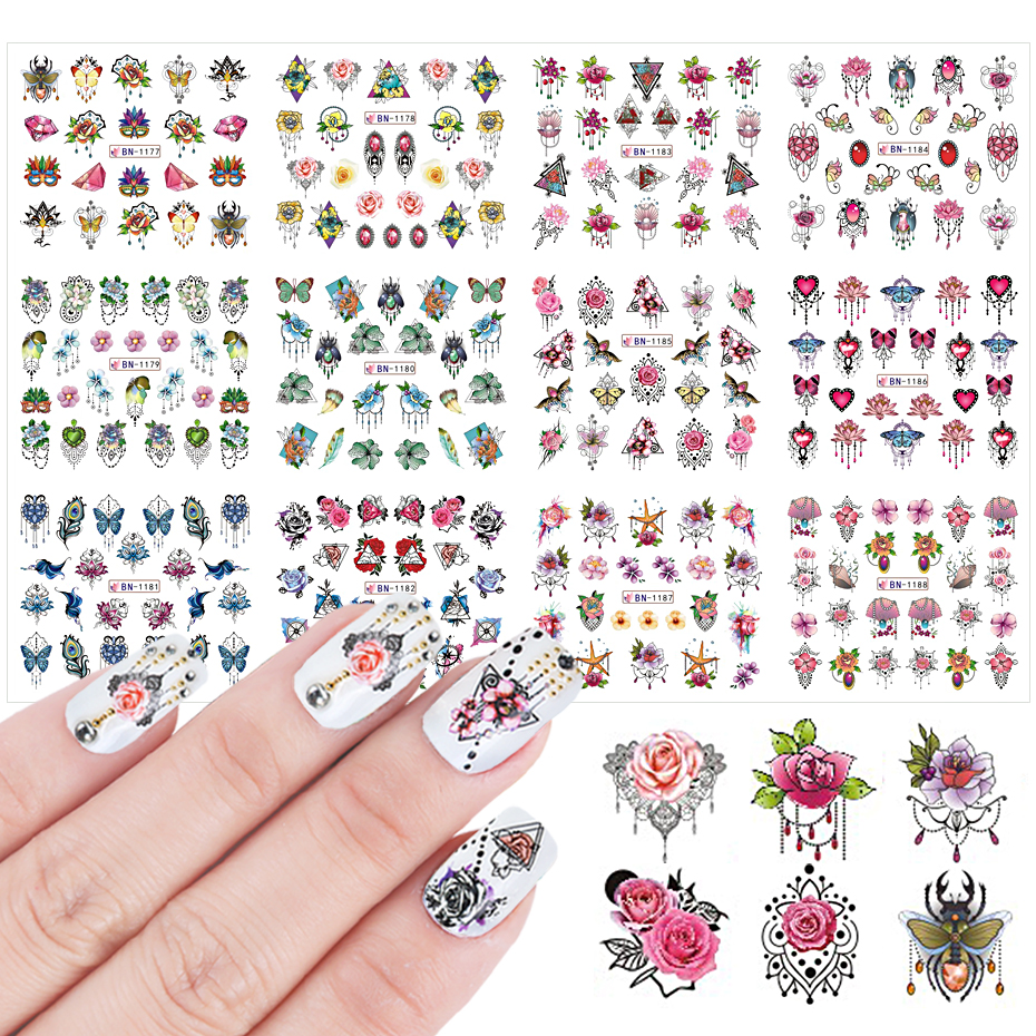12pcs Mixed Design Nail Stickers Jewelry Flower Leaf Animals Water Transfer Decals Tattoo Nail Art Manicure Tips SABN1177-1188-1